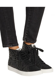 Primo Court leopard-print suede high-top sneakers