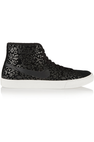 Nike. Primo Court leopard-print suede high-top sneakers