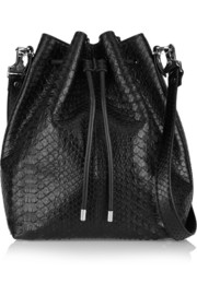 Bucket large python shoulder bag