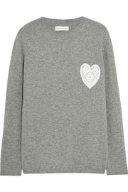 Cashmere and broderie anglaise cotton sweater