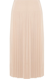 Jerry pleated silk crepe de chine skirt