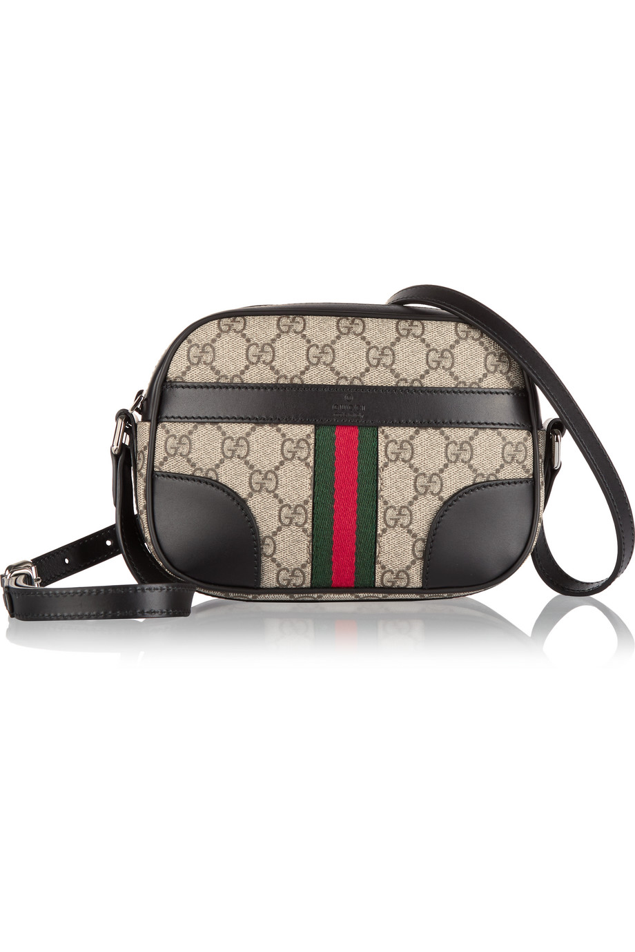 Gucci Bright Supreme Leather-Trimmed Coated Canvas Shoulder Bag, Gray, Women's