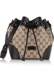 Gucci Linea A leather-trimmed coated canvas shoulder bag