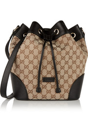 Gucci Linea A large textured leather-trimmed canvas bucket bag