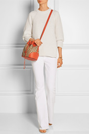 Gucci Linea A textured leather-trimmed canvas shoulder bag