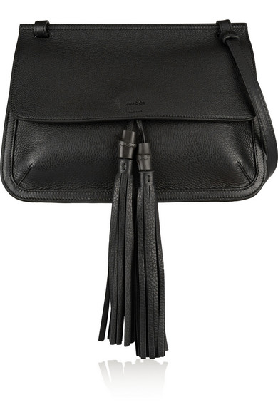 ef5668dd15b9 Gucci | Bamboo Daily textured-leather shoulder bag | NET-A-PORTER.COM