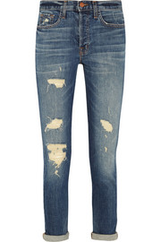 9022 Georgia distressed mid-rise slim boyfriend jeans