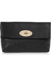 Clemmie textured-leather clutch