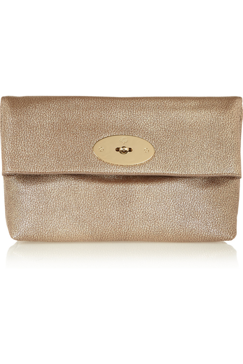 Mulberry Clemmie Metallic Textured-Leather Clutch, Gold, Women's