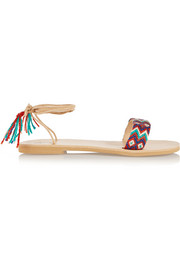 + Elina Lebessi Katerina embroidered leather sandals