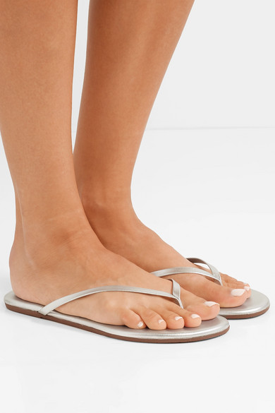 7d04b4e312f6 Lily metallic leather flip flops