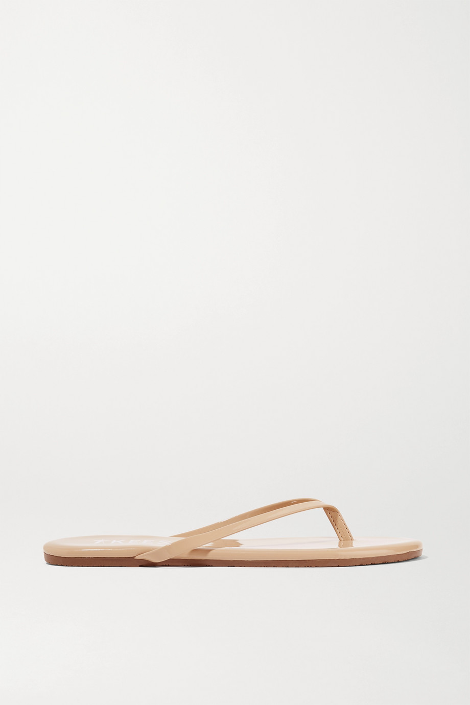 Tkees Lily Patent-Leather Flip Flops, Beige, Women's, Size: 6