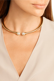Darcey gold-plated faux pearl choker