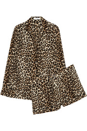 Lilian leopard-print washed-silk pajama set