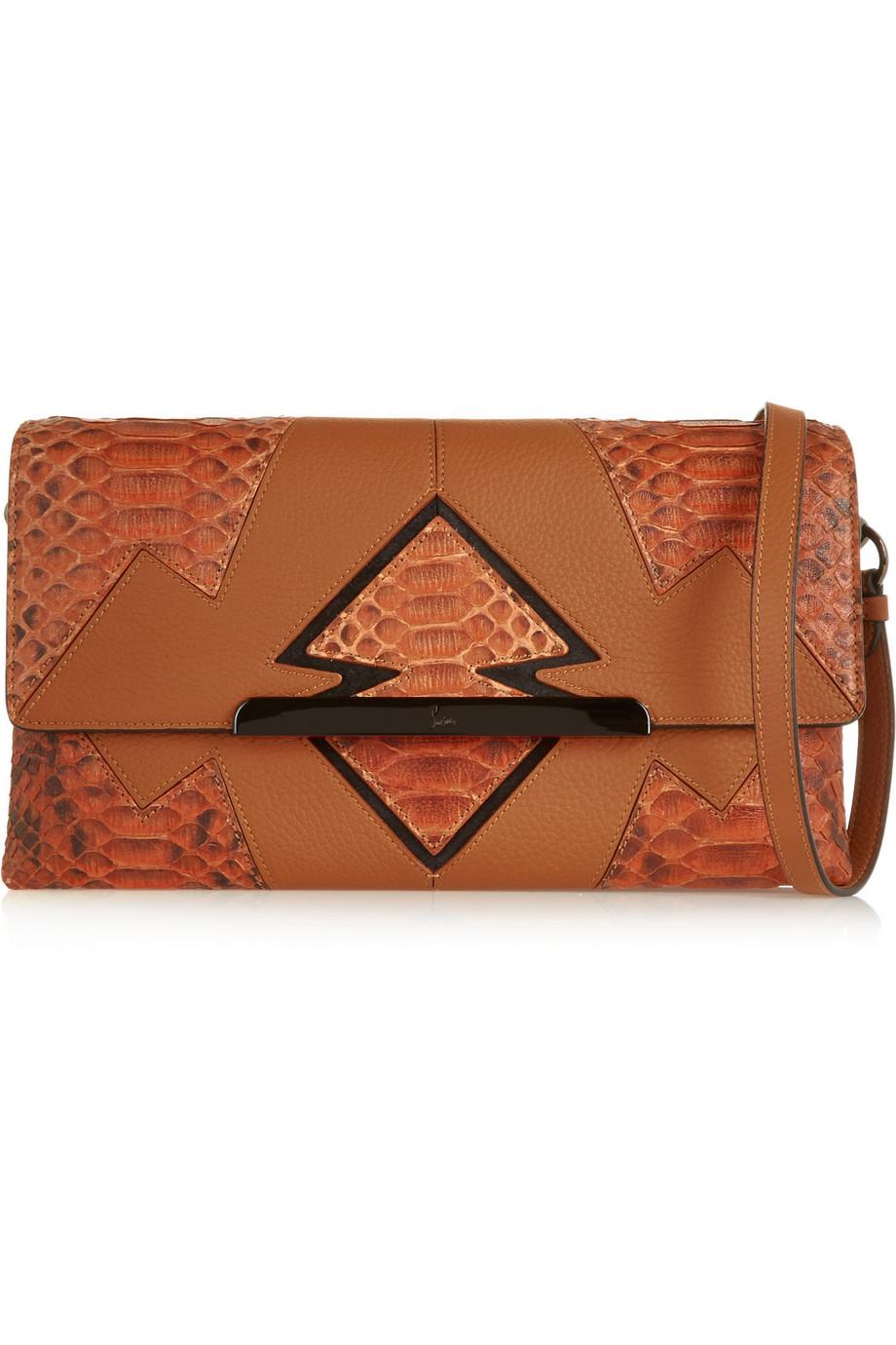 Christian Louboutin Rougissime Arizona Python-Paneled Textured-Leather Clutch, Tan, Women's