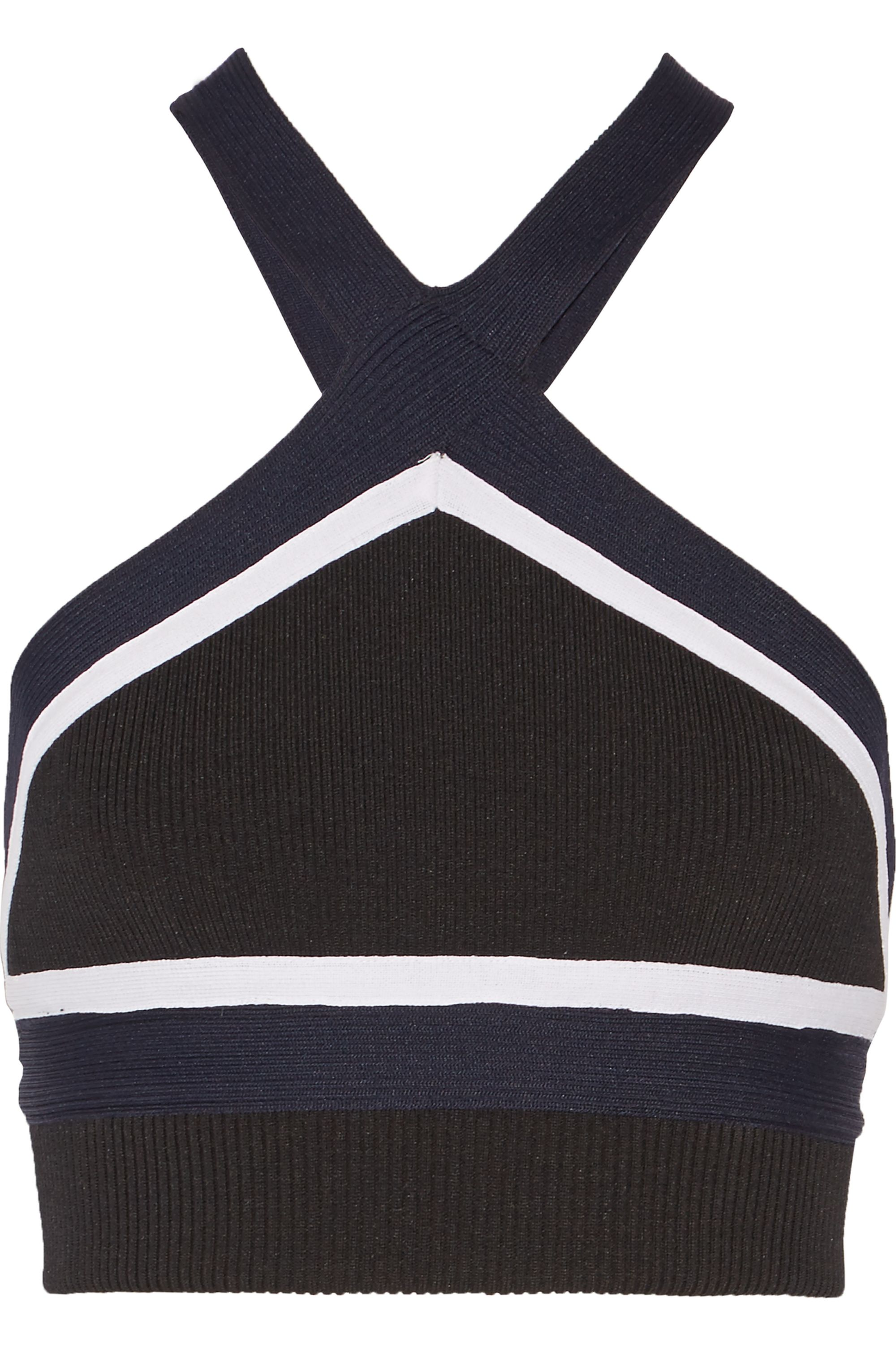 Jonathan Simkhai Cropped ribbed stretch-knit halterneck top