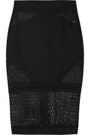 Neo Scallop corded mesh and stretch-woven pencil skirt