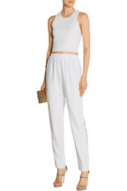 Fence cutout crepe pants