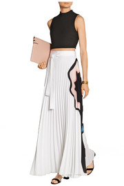 Felicity pleated printed georgette maxi skirt