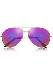 Victoria Beckham Classic Aviator-style metal and acetate sunglasses
