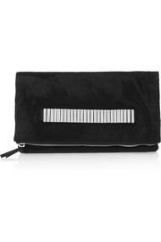 Lo Fi calf hair and textured-leather clutch
