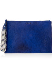 Bullet Kicks calf hair and textured-leather clutch