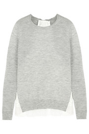 CLU Satin-paneled cashmere sweater