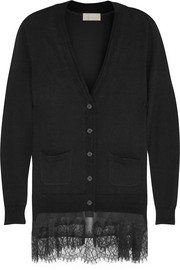 Lace-trimmed wool and cashmere-blend cardigan