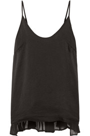 Chiffon-trimmed washed-silk camisole
