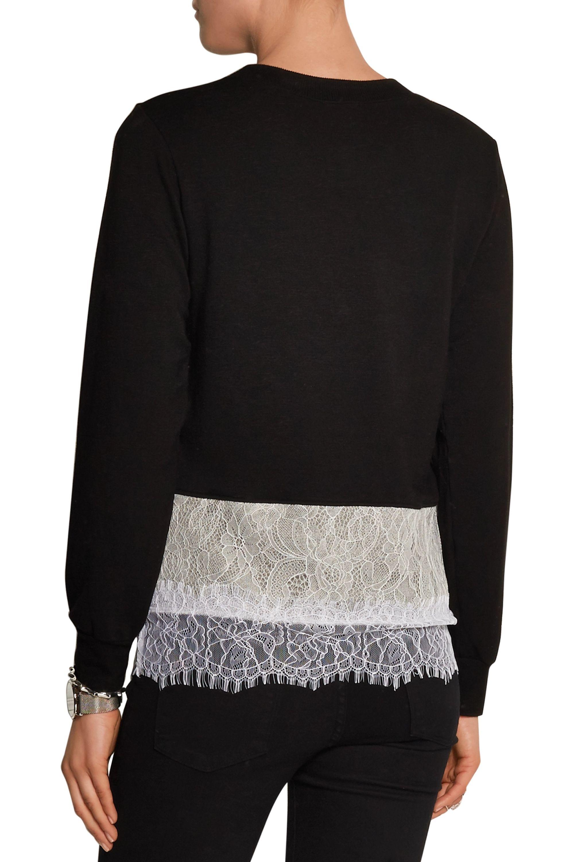 CLU Lace-trimmed stretch-jersey sweatshirt