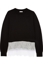 CLU Lace-trimmed stretch-jersey sweatshirt