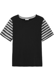 Tulle-paneled cotton and modal-blend T-shirt