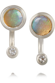 Gravitation silver, opal and topaz earrings