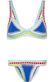 Tuesday crocheted cotton-trimmed triangle bikini