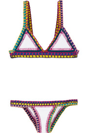 Yaz crocheted cotton and neoprene triangle bikini