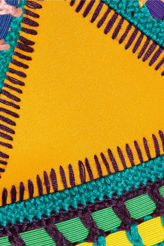 Kiini Ro crocheted cotton-trimmed triangle bikini