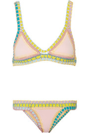 Bea crocheted cotton-trimmed triangle bikini