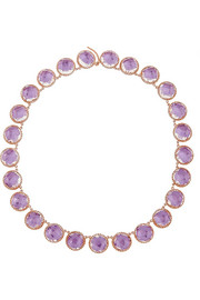 Olivia Button Rivière rose gold-dipped topaz necklace
