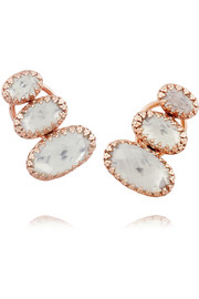 Tessa Climbing rose gold-dipped sterling silver topaz earrings