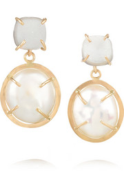 14-karat gold, pearl and druzy earrings
