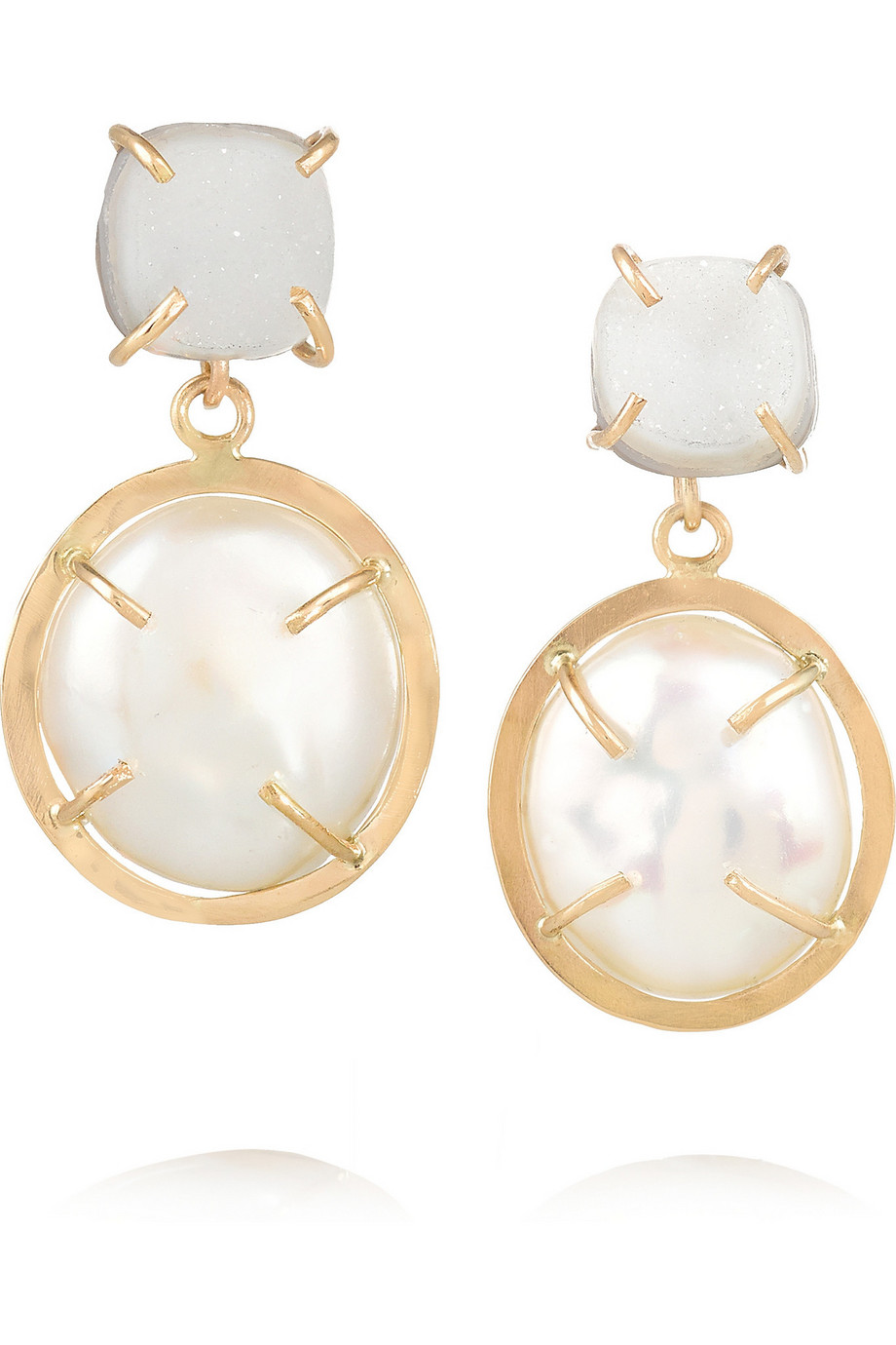 14-Karat Gold, Pearl and Druzy Earrings, Melissa Joy Manning, Women's