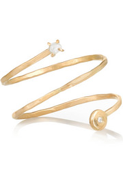 Melissa Joy Manning 14-karat gold, pearl and diamond ring