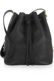 Extendable matte-leather bucket bag