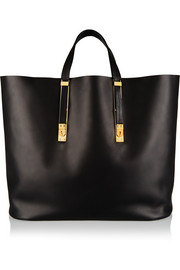 Extendable leather tote