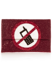 Valorie glitter-finished leather clutch