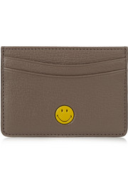 Smiley textured-leather cardholder