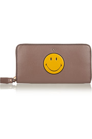 Anya Hindmarch Smiley textured-leather continental wallet