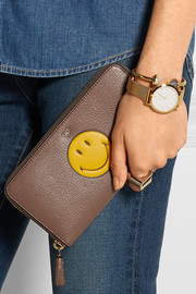 Smiley textured-leather continental wallet