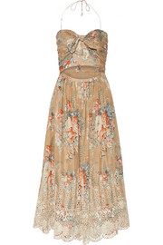Anais floral-print cotton and silk-blend dress