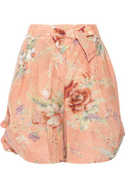 Anais floral-print cotton and silk-blend voile shorts